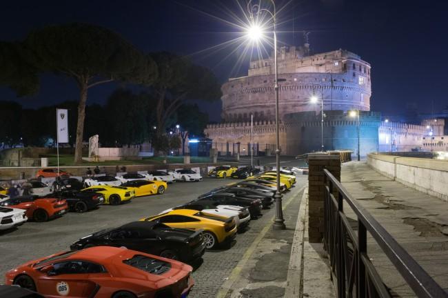 Roma parc fermè Castel Sant'Angelo notte