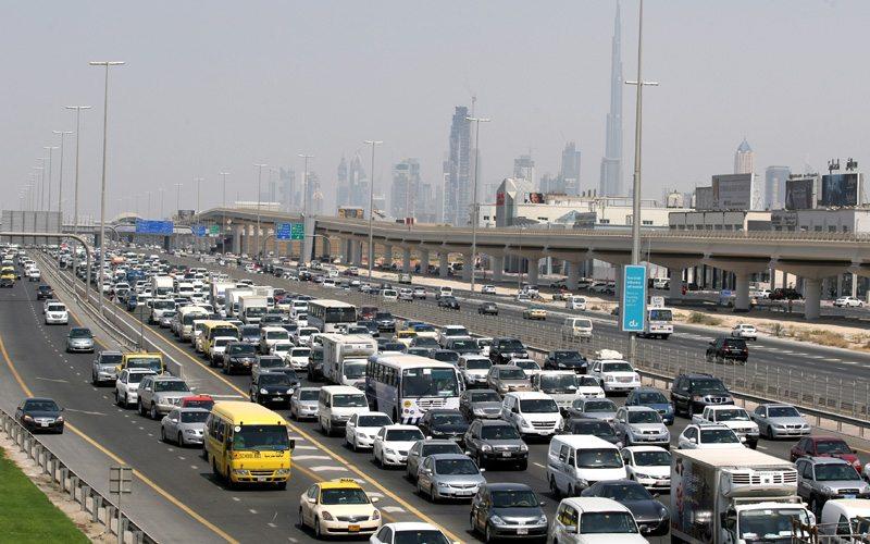Heavy traffic on Sheikh Zayed road in Dubai