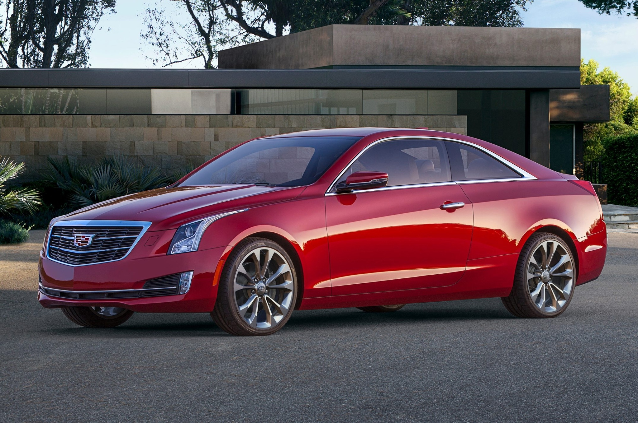 2015-Cadillac-ATS-Coupe-red--front-side-view