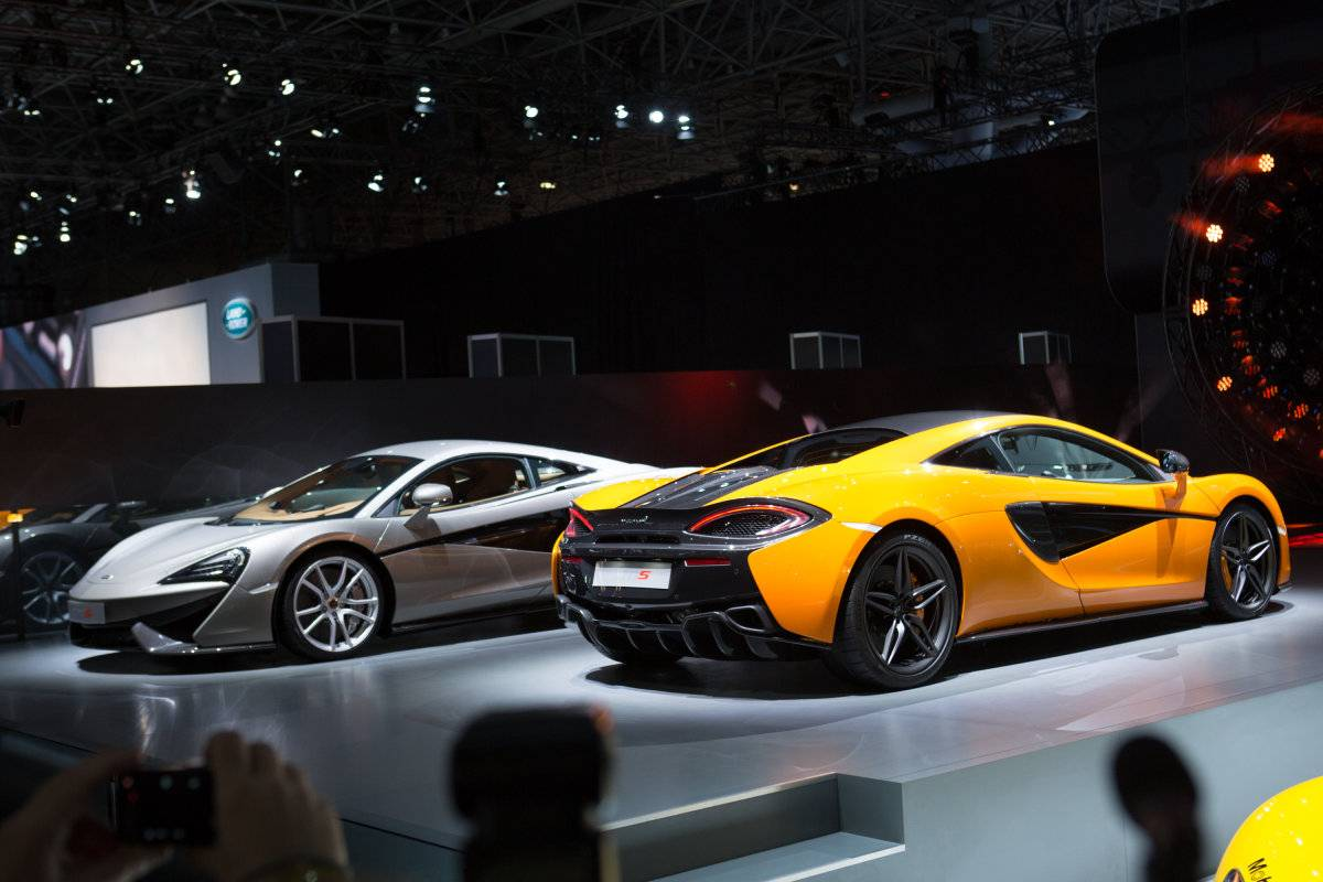 NEW YORK, NY - APRIL 1, 2015: McLaren introduces the new 570S model at the New York International Auto Show at the Javits Center on April 1, 2015 in New York City. The auto show opens to the public April 3-12.   Kevin Hagen/Getty Images/AFP