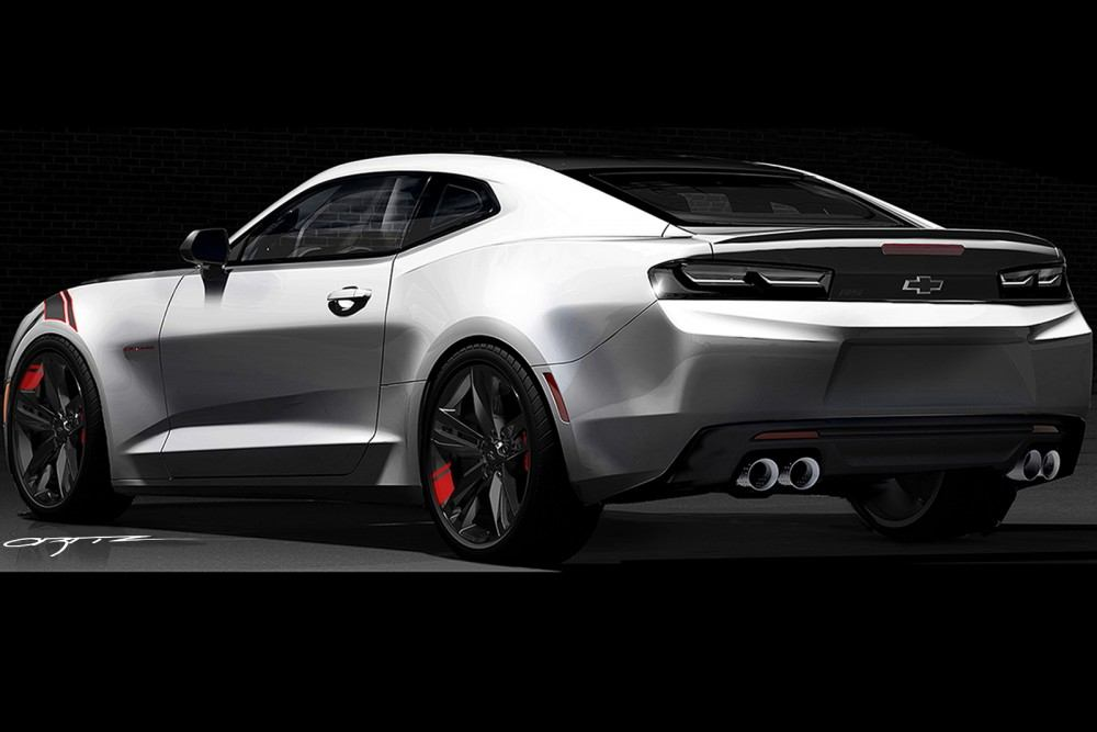 Camaro Red Line Series concept: All of the production and concept accessories were developed in Chevrolet's design studio with the vehicles themselves. All of the Red Line Series concepts share Enhanced Silver Metallic exteriors, with a custom Charcoal roof panel and Satin Graphite and red accents.