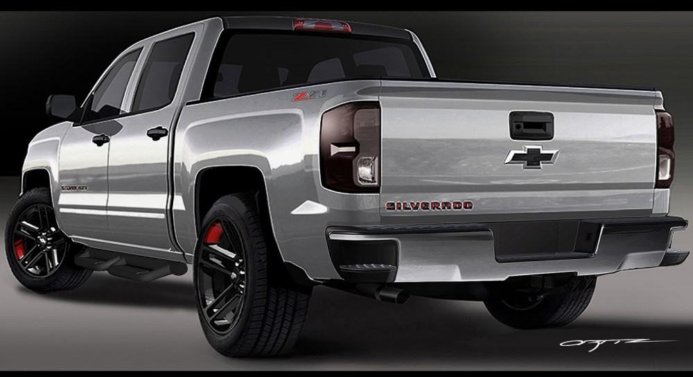 Silverado 1500 Red Line Series concept: All of the production and concept accessories were developed in Chevrolet's design studio with the vehicles themselves. All of the Red Line Series concepts share Enhanced Silver Metallic exteriors, with a custom Charcoal roof panel and Satin Graphite and red accents.