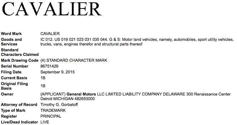 Cavalier-USPTO-trademark-filing
