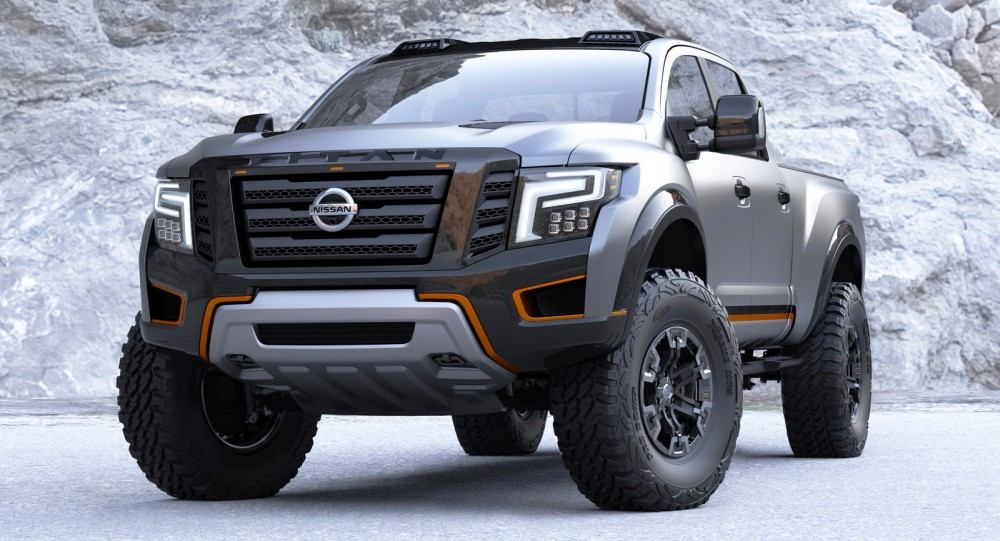 """Just as the all-new TITAN XD with its Cummins® 5.0L V8 Turbo Diesel engine has bulked up the standards for customers shopping the light-duty pickup class, the TITAN Warrior Concept was created to take the production version to the extreme. The TITAN Warrior Concept builds on the recent Project Titan, a crowd-sourced customization of an original-generation Titan that sent two U.S. military veterans representing Wounded Warrior Project® on a once-in-a-lifetime adventure in Alaska. The new concept truck also pays homage to Nissan's heritage of off-road racing and adventuring, which goes back to the days of Baja """"Hardbody"""" competition pickups and Paris-Dakar Rally treks."""