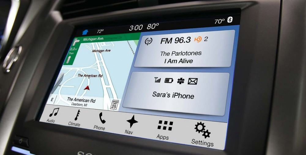 The home screen features three zone choices – Navigation, Audio and Phone. Tile-like icons dominate the screen, with a quick access function tray along the bottom making for a more straight-forward user experience.