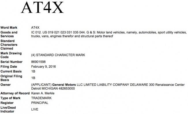 General-Motors-AT4X-Trademark-Application