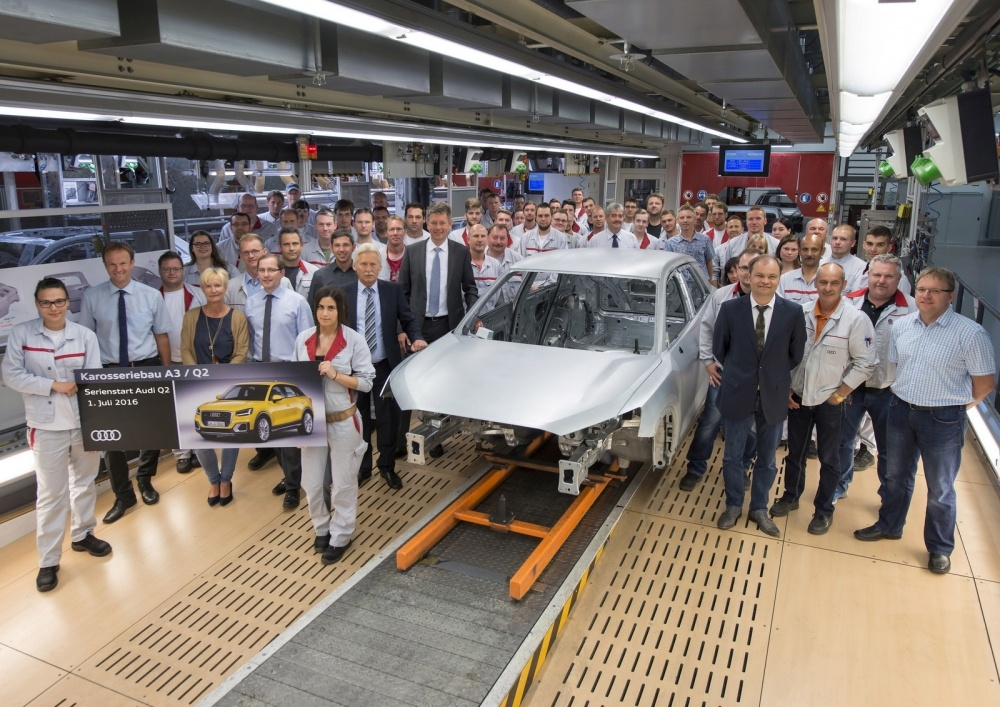 Start of series production of Audi Q2 at main plant in Ingolstadt at the body shop.