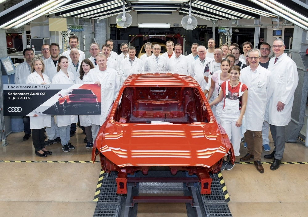 Start of series production of Audi Q2 at main plant in Ingolstadt at the paint shop.