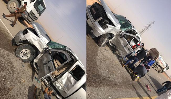 شاحنة تسير بسرعة 140 كم/س تتسبّب بحادث قوي على طريق روضة الخفس