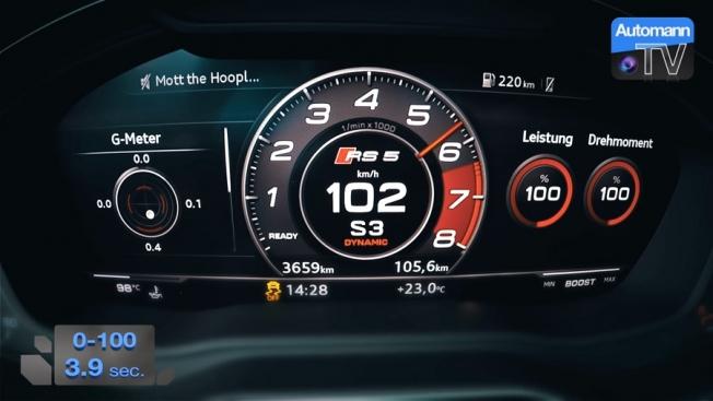شاهد تسارع اودي RS5 الجديدة من 0 الى 100 كم/س