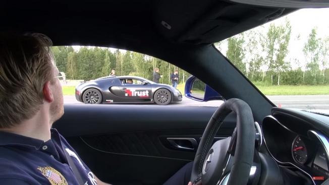 مرسيدس AMG GT S تتحدى بوقاتي فايرون في سباق التسارع
