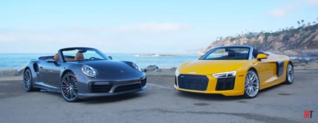 شاهد مقارنة بين بورش 911 تيربو كابريو وأودي R8 V10 سبايدر